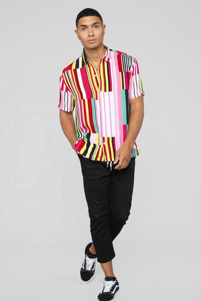 king young stripe print Fold Down Collar Front Button Closure Short Sleeve Woven Top mens casual shirts