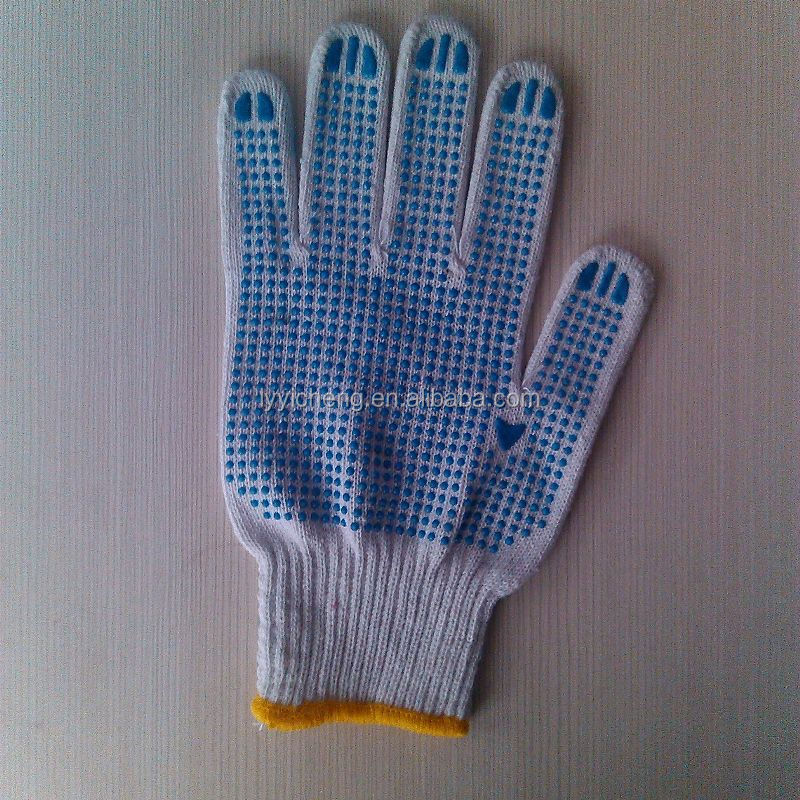pvc dotted working glove/cotton welding gloves