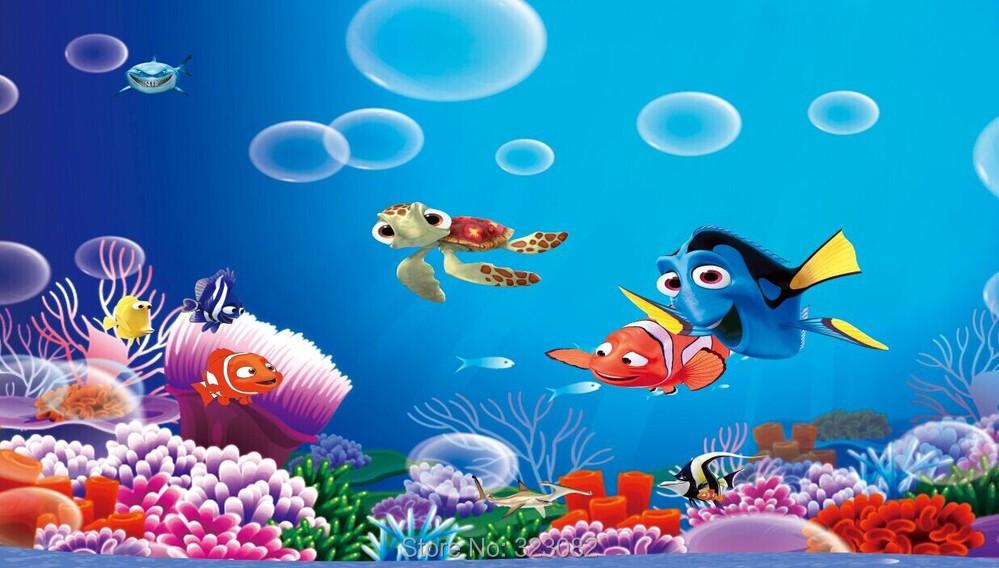 Finding Nemo D Animasi Hd Wallpaper: Kualitas Tinggi Menemukan Nemo Kartun 3D Mural Wallpaper