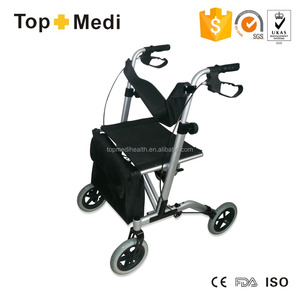 Rehabilitation Therapy High end lightweight folding aluminium rollator walker with seat