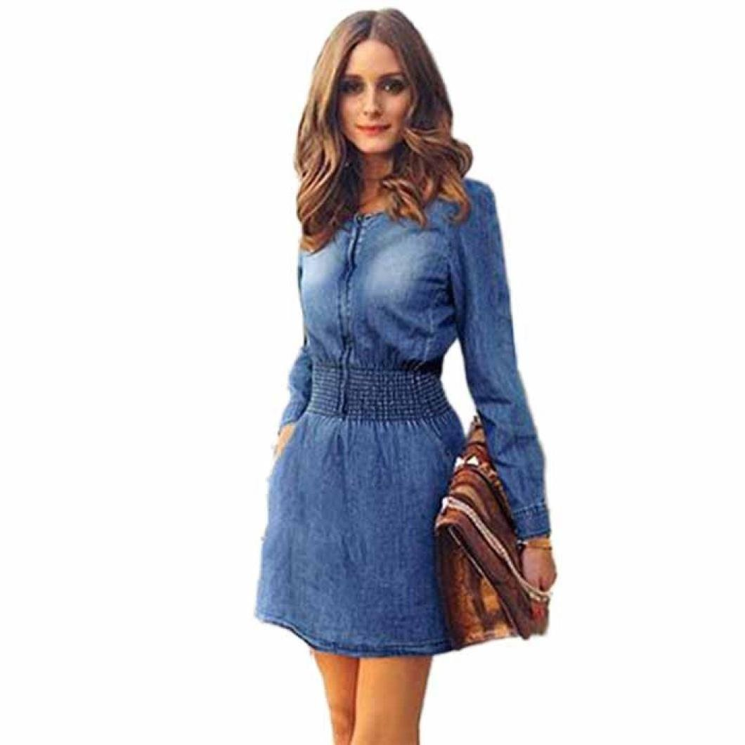 Women Dress, ღ Ninasill ღ Hot Sale ! Vintage Spring Women Long Sleeved Slim Casual Denim Jeans Party Mini Skirt Blouse Tops (M, Blue)
