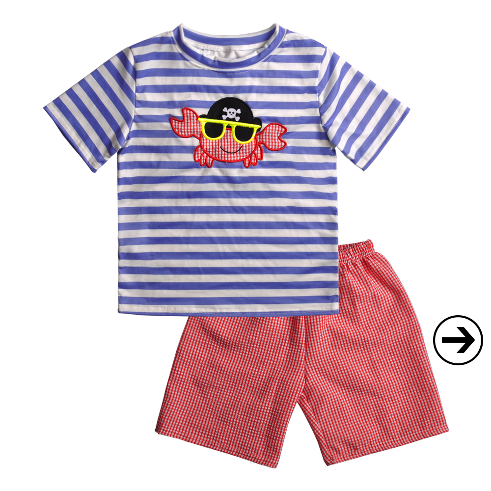 New Fashion Baby Boy Clothing Summer High Quality Kids Boutique Outfit Crab Embroidery Boy Clothes Set, As the pic show