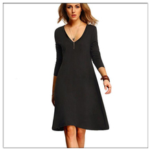 Womens Summer Dresses 2017 Casual New Black Solid V Neck Long Sleeve In Jersey Above Keen Length T Shrit Dress