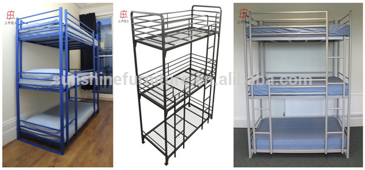 blue black white home bedroom metal kids 3 tier bunk bed