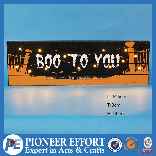 hot sales boo to you wooden halloween decoration with led lights - Halloween Decoration Sales