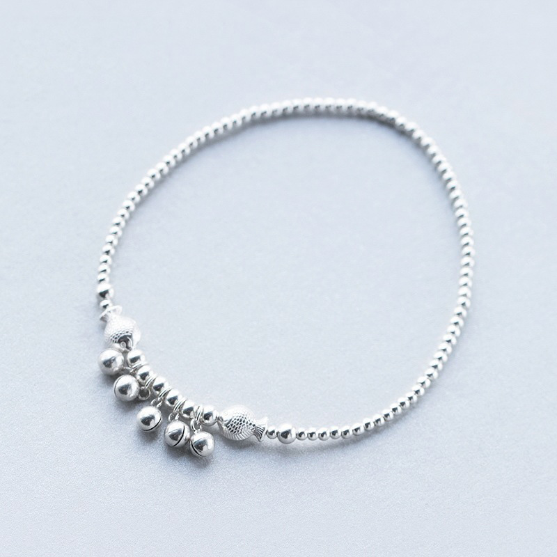 SJS909 Wholesale Promotion Price 925 Sterling Silver Rhodium Plated Tinkle Bell Anklet