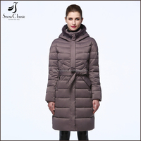 China manufacture 2017 fashion style winter down feather jacket for women with belt
