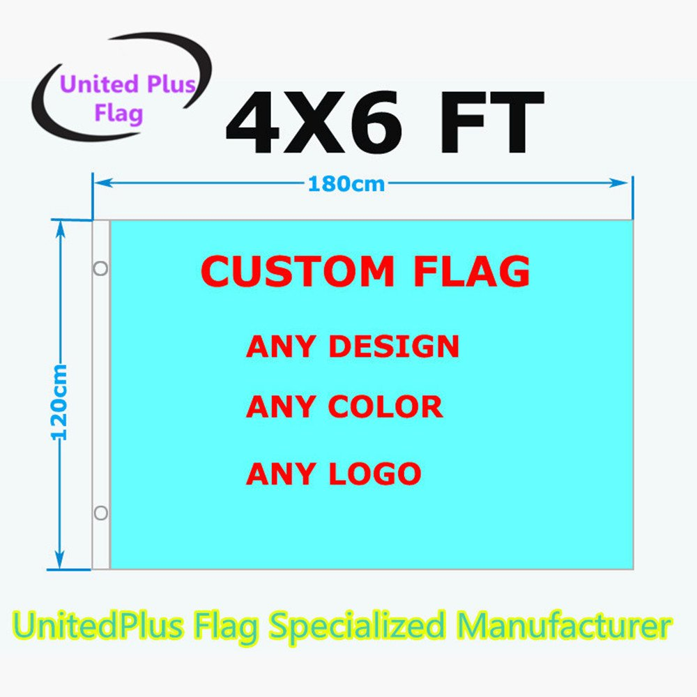 Unitedplus 4x6 Foot custom flag-100D Polyester Polyester with Brass Grommets 4 X 6 Ft- Customize Flags And Banners For Sport Outdoor Banner custom flag- Advertising Banner (4X6 FT)