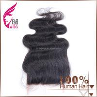Fabwigs 2017 body wave Lace Closure free part natural color 100% vigin Brazilian human hair weave closure frontal piece