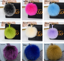 Wholesale fur pom poms real fox fur ball with Keychain