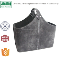 Antique style faux leather storage basket for magazine