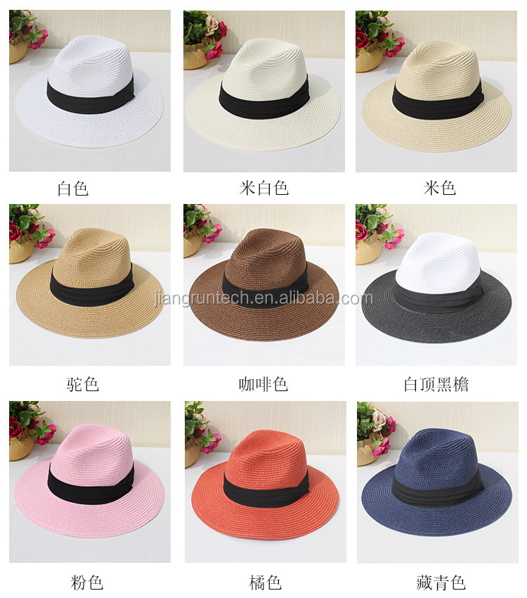 Fashion Promotional panama straw hat ladies promotional caps hats