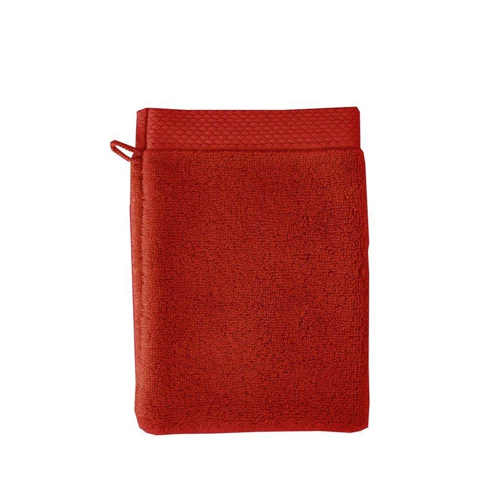 Garnier-Thiebaut, Set of 2, Luxuriously Soft Cotton European Shower / Wash Mitts (Gants De Toilette), Cerise (Cherry Red), Elea Collection