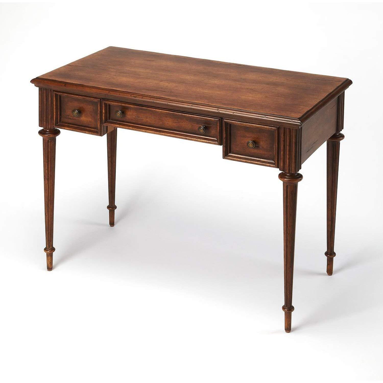 Offex Hallway Cherry Veneer Wood Finish Writing Desk - Medium Brown