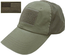 Camo Flag Patch Cotton Mossy Mesh Bark Oak Tactical Operator Cap Hat Army Green Dry Fit Tactical Trucker Cap
