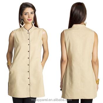d74e8c1a1d300c india wholesale cotton tunic women tunic top mandarin collar dress shirt  beige sleeveless tunic shirt