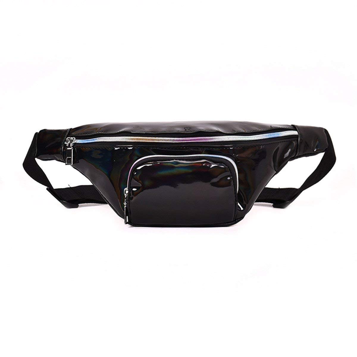 Andear Waist Bag Holographic Laser Bumbag PU Waterproof Fanny Pack Sports Hiking Running Hip Pack