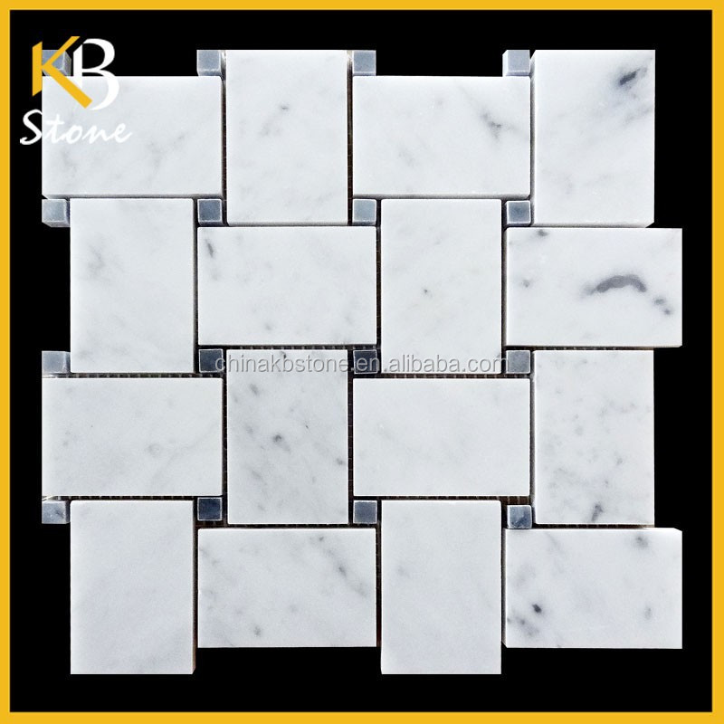 Bianco Carrara Marble Polished Mosaic Tiles Wide Basketweave 55x81 Black Dot