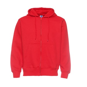 Hot sale red hoodie with zipper/100%cotton top quality hoodies Jersey wear