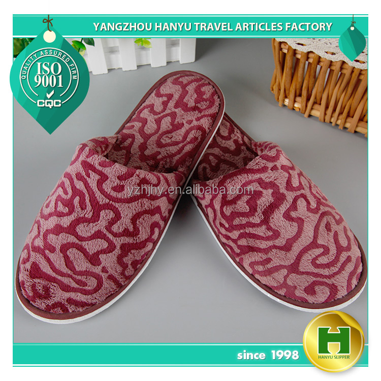 Super-soft Velvet Hotel Slippers / Smooth Red Disposable Women's Velour Guest Slippers / Custom Fashion Ladies' Fleece Slippers