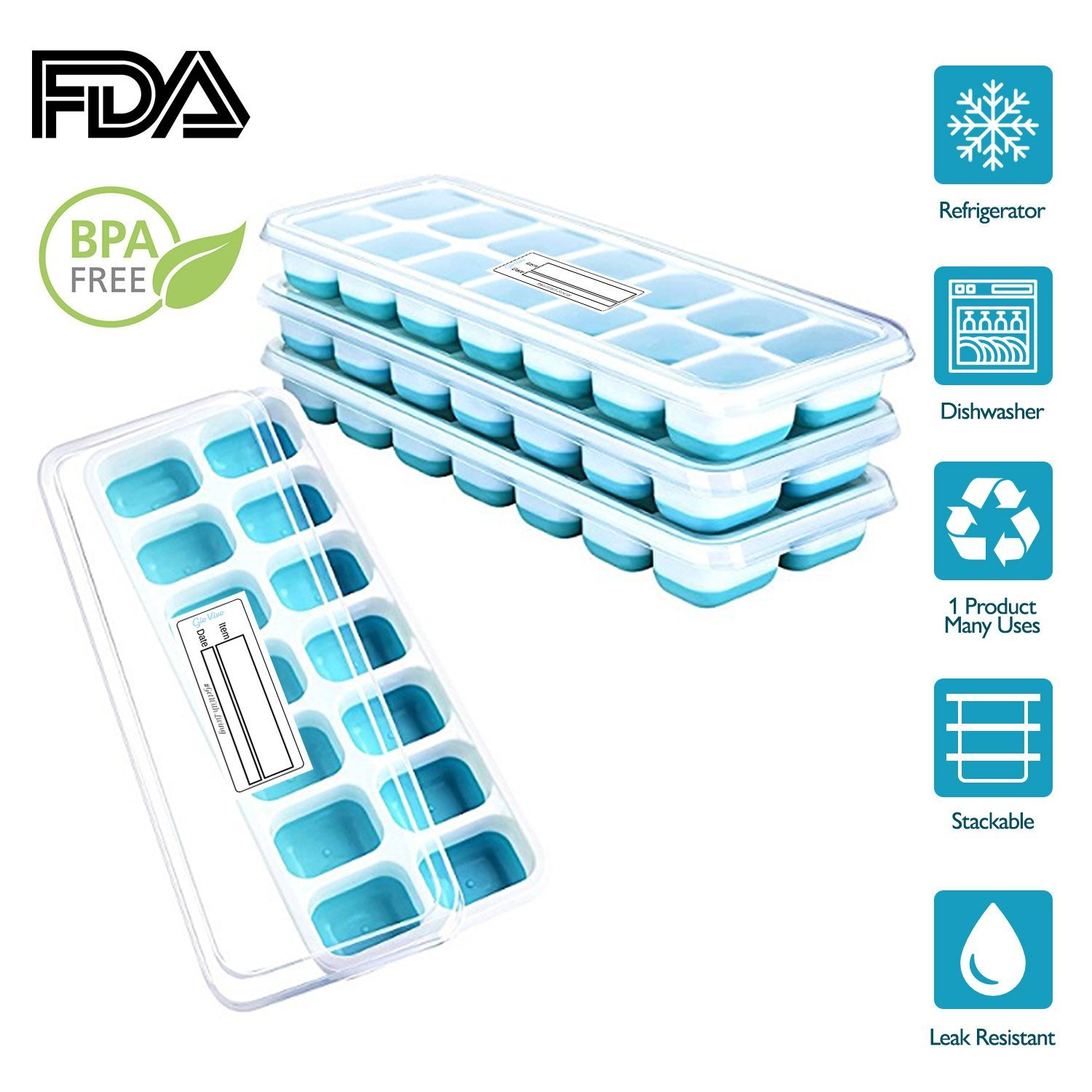 4 in 1 Set of 4 Ice Cube Trays, Easy-Release, 14 mould Tray with Easy Release cubes, Removable Lid, LFGB Certified, BPA Free, Stackable, Durable and Dishwasher Safe, 60 Days