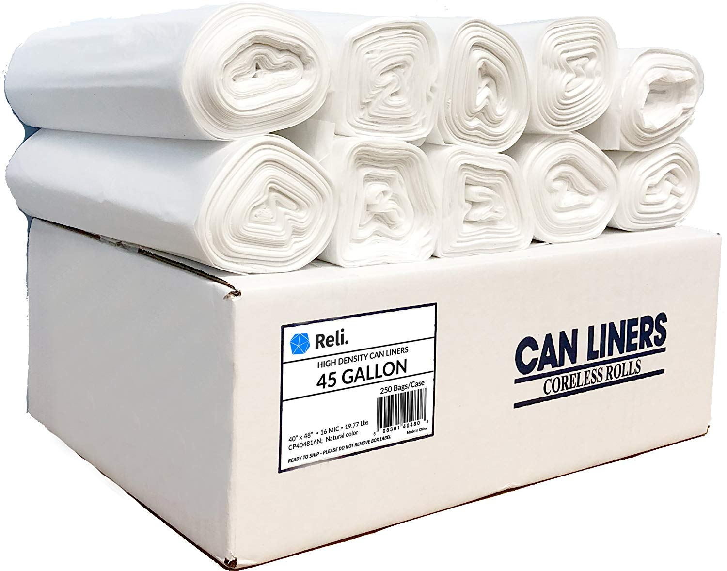Reli. Trash Bags, 45 Gallon (Wholesale 250 count) - Star Seal High Density Rolls (Clear) - Can Liners, Garbage Bags with 40 Gallon (40 Gal) to 45 Gallon (45 Gal) Capacity