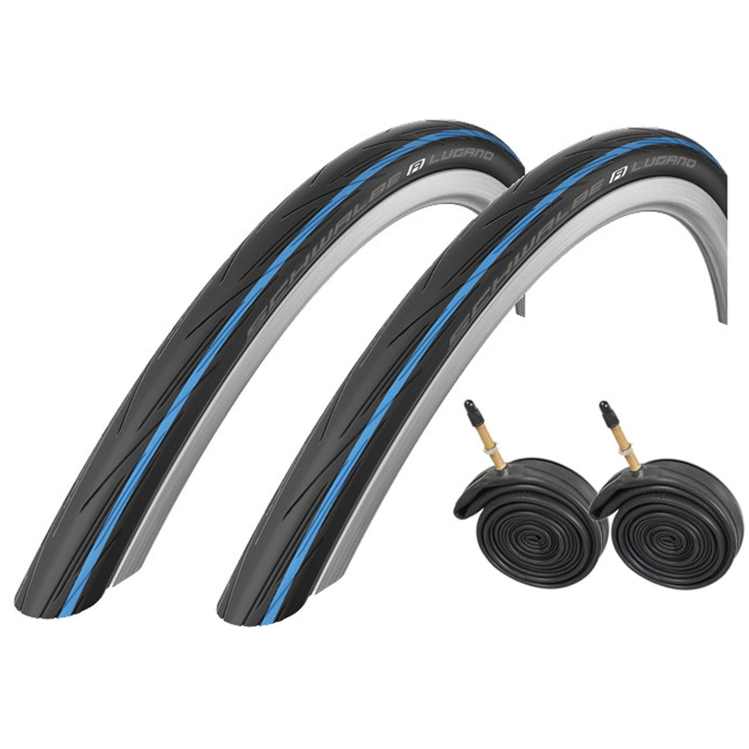 2x Schwalbe Lugano 700c x 25 Road Racing Bike Tires & Presta Tubes - Blue