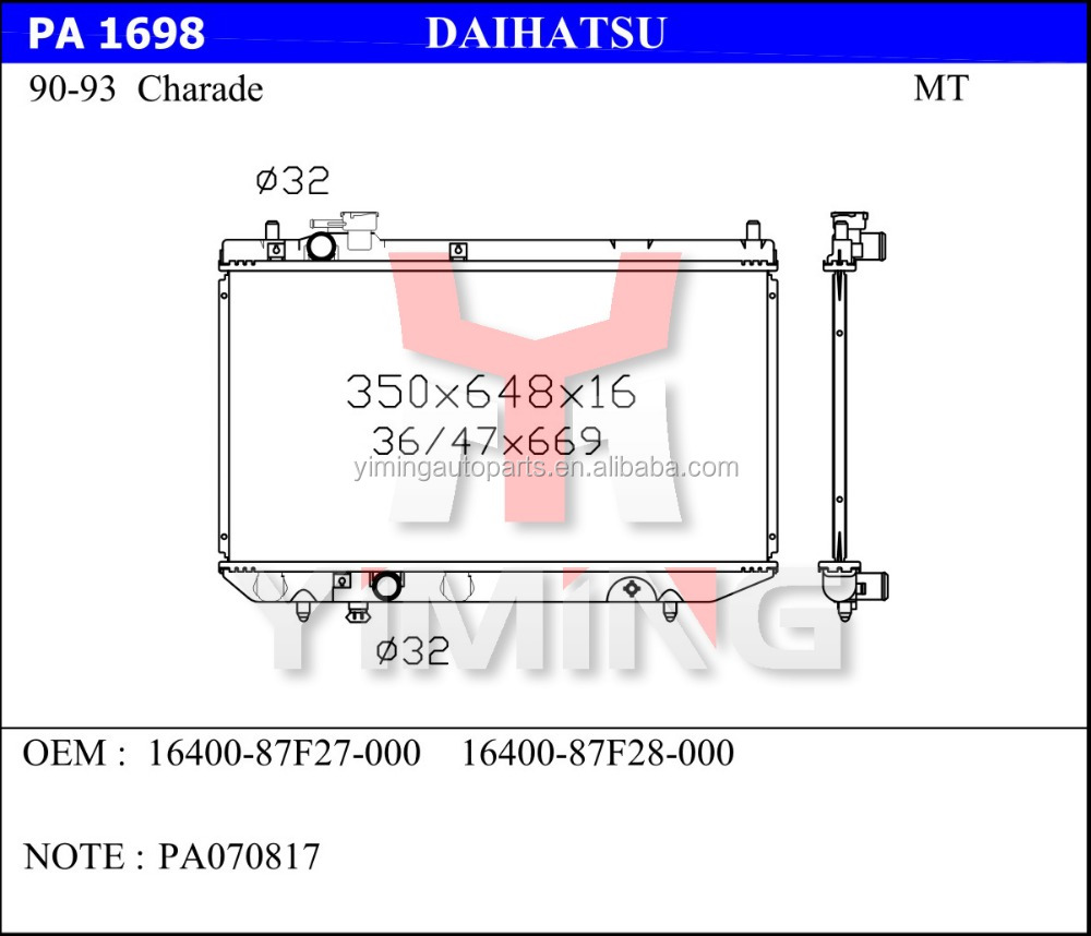 Daihatsu Charade Radiator Suppliers And Pyzar Wiring Diagram Manufacturers At