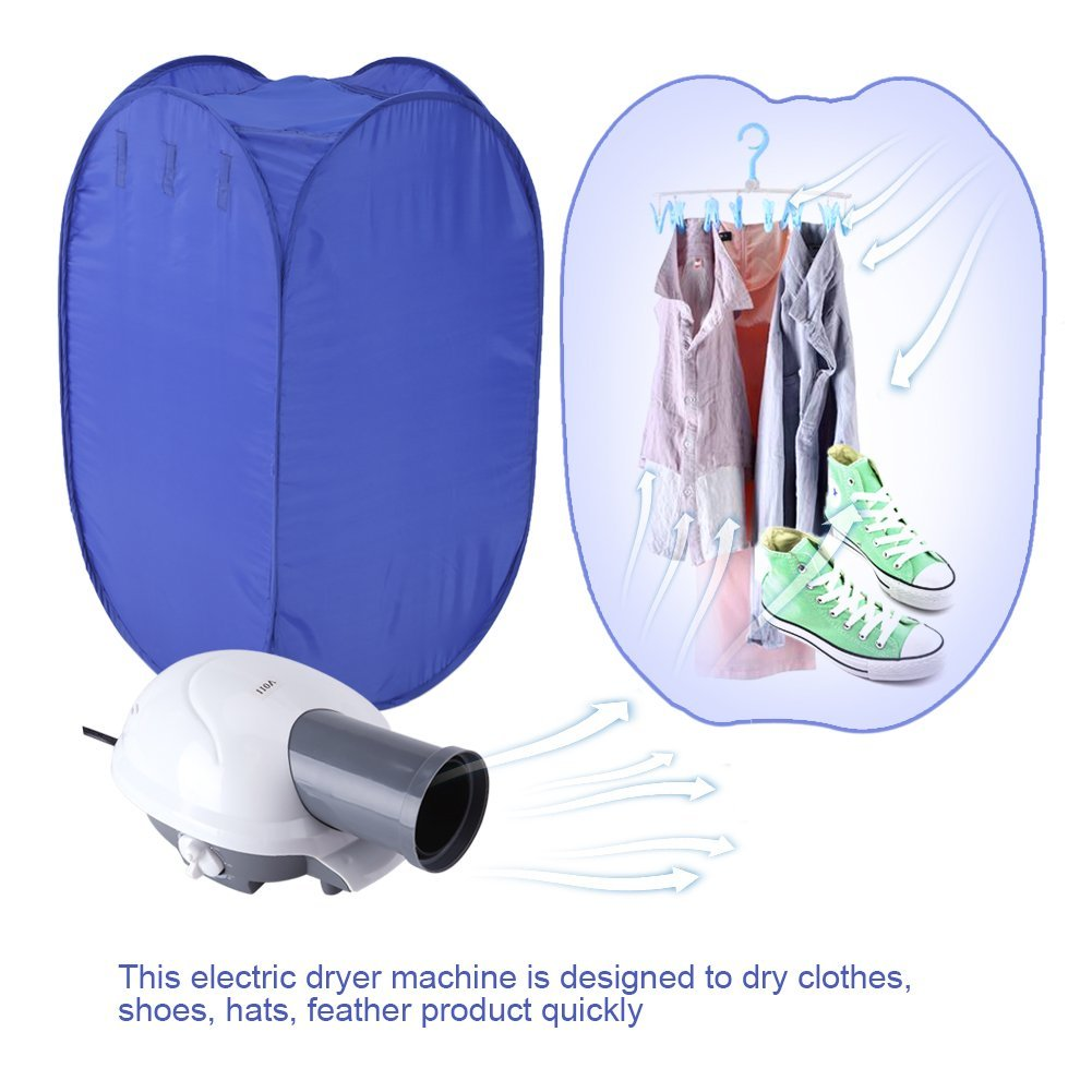 Yosoo Air Clothes Dryer Machine, Portable Electric Clothes Drying Machine 800W Ventless Cloths Dryer Foldable Dryer Bag with Heater For Home, Apartments,110V US Plug