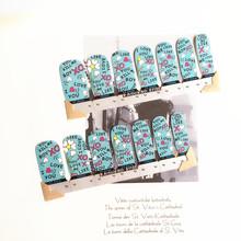 Blue Letter Lovely Nail Arts Sticker 14 pcs set Waterproof Nail Decal Art Sticker Gel Polish