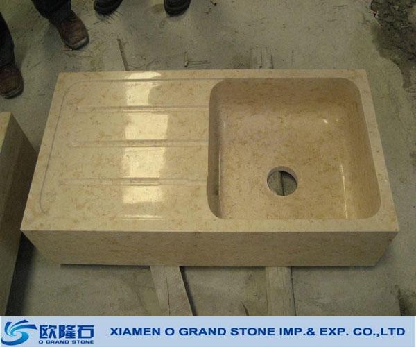 Egypt Cream Drain Board Square Stone Granite Kitchen Sinks - Buy ...