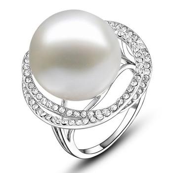 Elegant Wedding Designer Rings Silver Gold Plated White Crystal Big