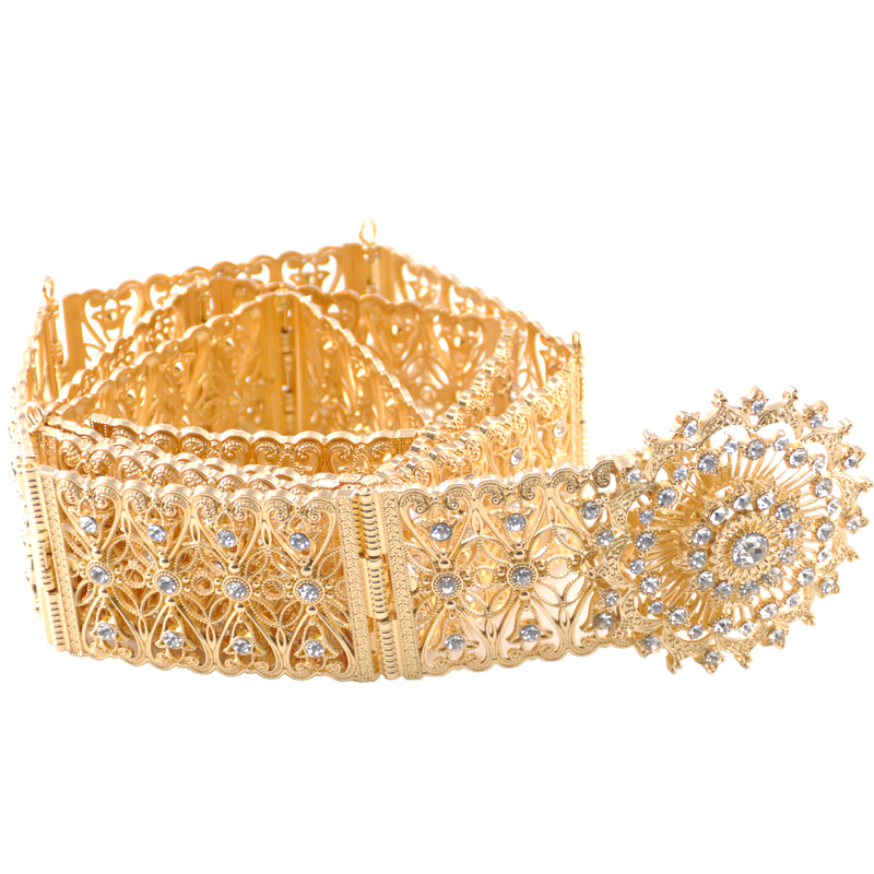 Elegant round crystal hollow flower metal belt designed for ladies wedding party custom dress jewelry belt