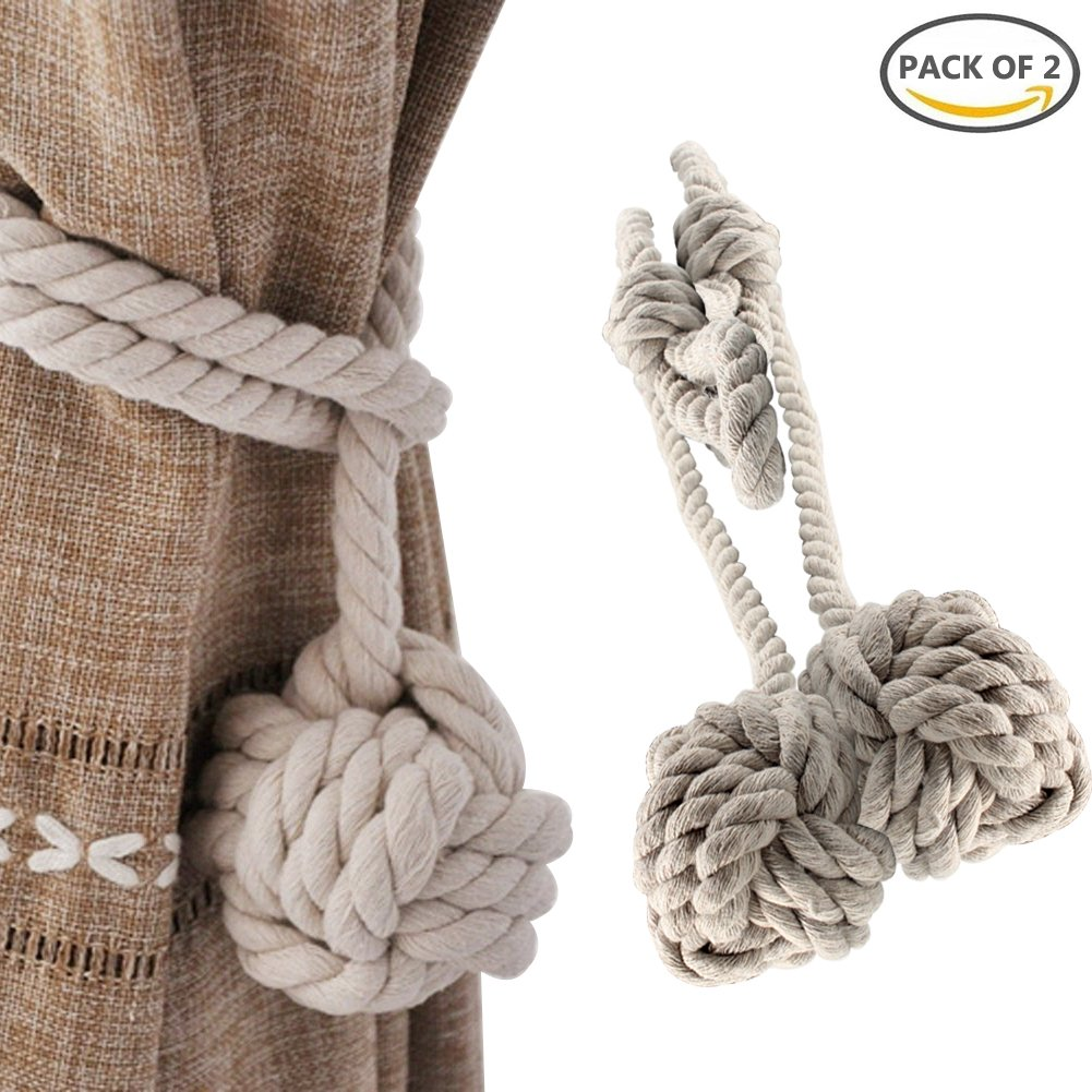 YIDIE Hand Knitting Window Curtain Tiebacks, 2-Pack Cotton Rope Holdbacks for Blackout Curtains, Beige