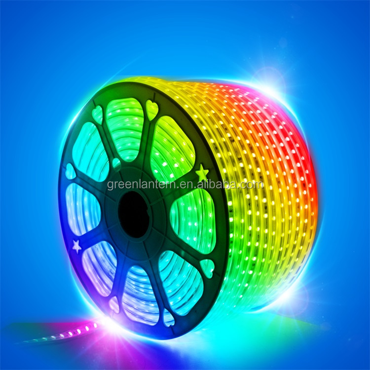 AC 220V Flexible RGB LED Strip Lights IP65 5050 SMD LED Rope Light with Remote Controller