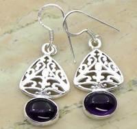 6.50ctw Amethyst .925 Sterling Silver Dangle Filigree Earrings Jewelry Bulk Supplier Wholesaler In India