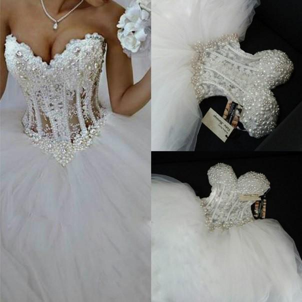 Ne009 Luxurious Bling Strapless Wedding Dresses Corset Bodice Sheer Bridal Ball Crystal Pearl Beads Rhinestones