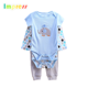 Funny printed baby boys clothes cotton baby bodysuit gift set with pant