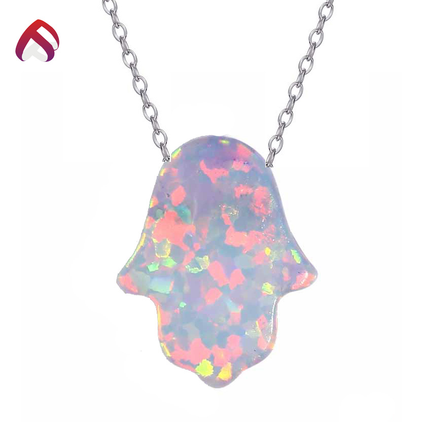 Fast delivery <strong>fashion</strong> 925 silver hamsa opal necklace 8x10mm
