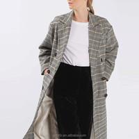 Wholesale elegant check wool full-length double breasted women coat 2017