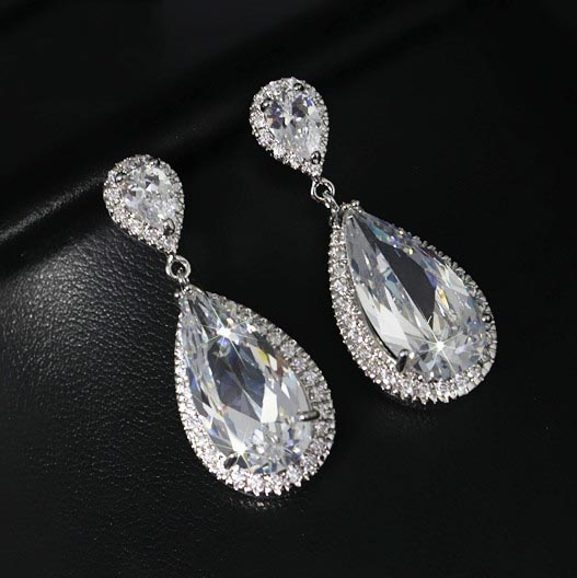 SJ Bridesmaid Gift SJLE0033 Antique Brass Rhodium Plated Micro Pave Cubic Zirconia Tear Drop Wedding Prom Bridal Earring