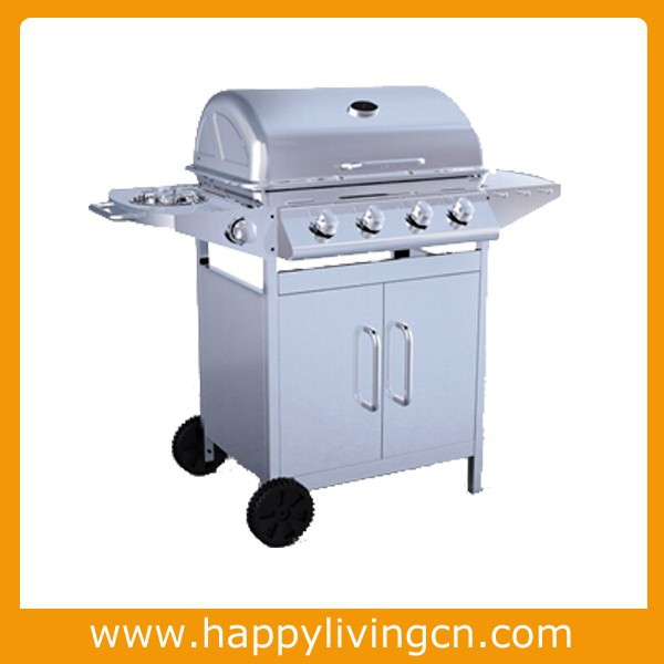 stainless steel gas bbq type grill outdoor 4+1 burners