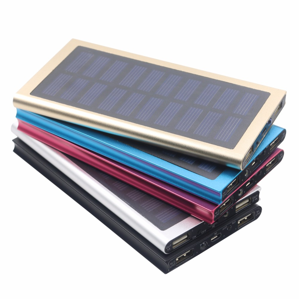 Portable Mini Slim Solar Power Bank Charger 10000mAh With Led Torch For Moblie Phone Tablet Pad