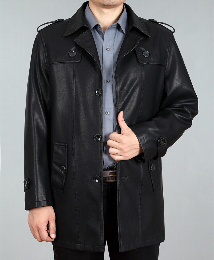Long men leather trench coat, in 2015 the new high end men