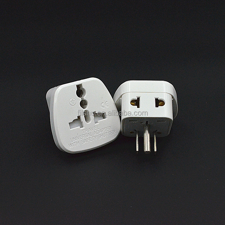 CE universal adaptor for travel with safety shutter 3 pin