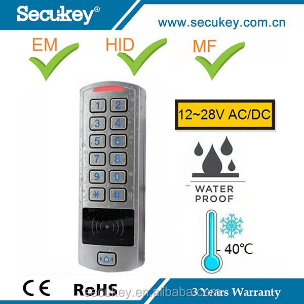 High quality waterproof keypad acess control with external memory tamper alarm