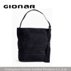 Guangzhou leather bag manufacturer wholesale ladies black suede nubuck leather tote bag