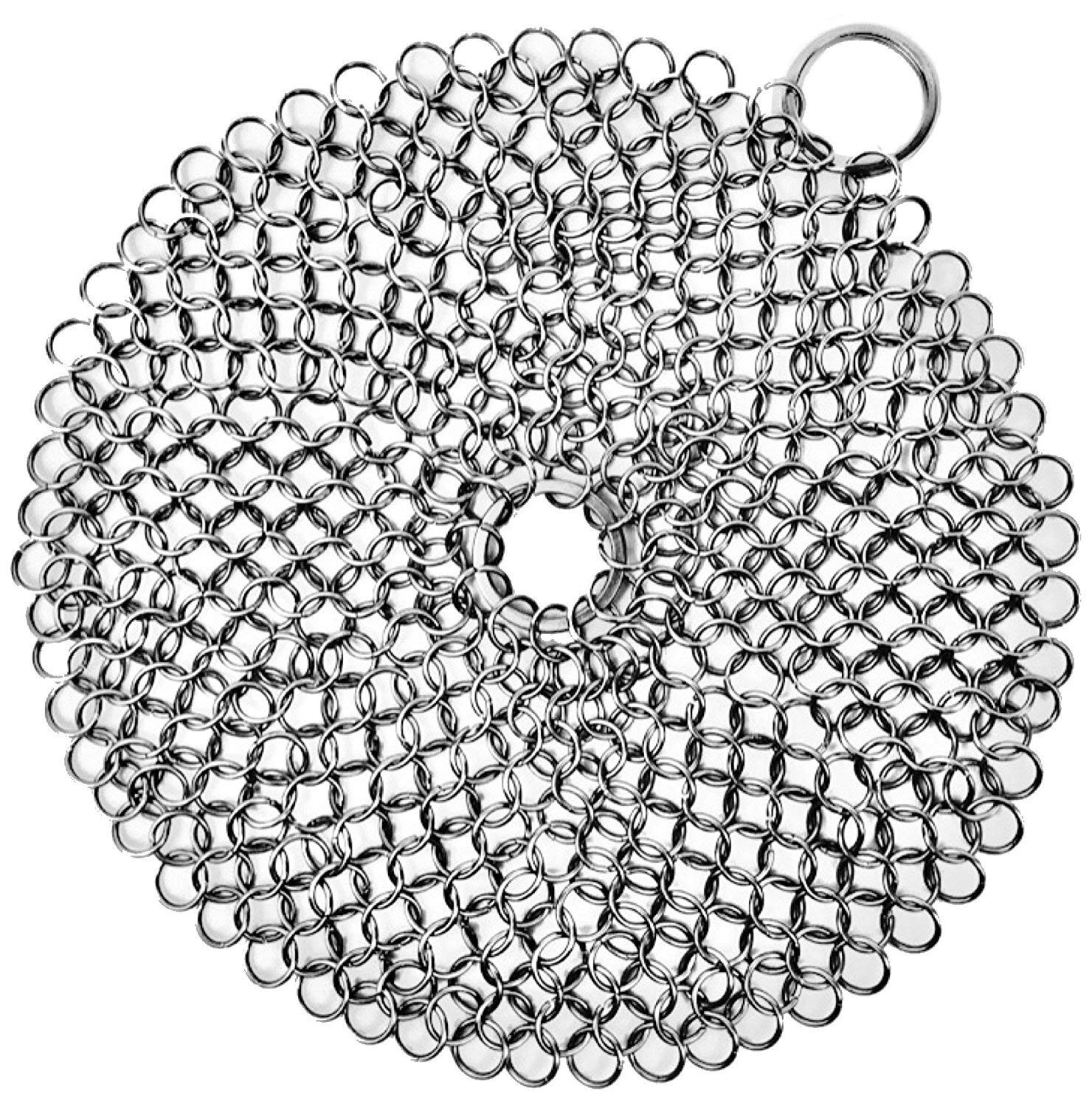 """Cast Iron Cleaner, Stainless Steel Chainmail Scrubber - Cookware Cleaner For Skillet, Wok, Pot, Pan, Grill Scraper with Corner Ring 