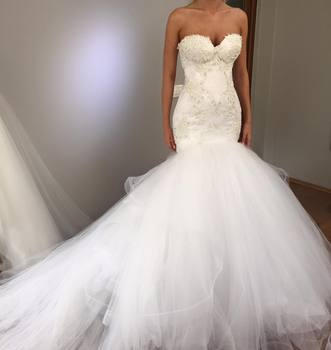 Luxury Dubai Black Girls African Bridal Gowns Mermaid Lace Wedding Dresses 2019 Spaghetti Strap Ruffles Sequined Wedding Gowns