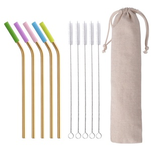 Reusable Metal Straws, Extra long Silicone Drinking Smoothies Straws with Cleaning Brushes